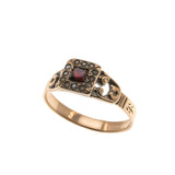 Emma - Georgian 15K Rose Gold Garnet & Seed Pearl Ring (GR022)