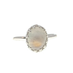 Celestial Moon - Estate Sterling Silver Moonstone Ring (ER173)