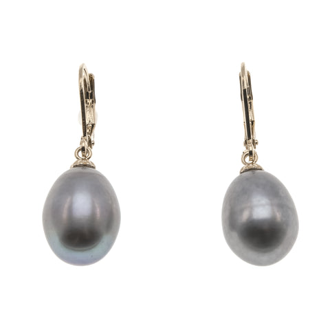 Stormy Monday -  Vintage 14K Gold Cultured South Sea Grey Pearl Earrings (VE125)