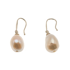 Ballet Slipper - Vintage 14K Gold Cultured Baroque South Sea Pink Pearl Earrings (VE130)