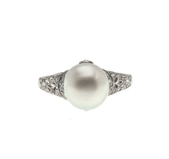Nature's Luxury - Rare Edwardian Platinum Natural Pearl & Diamond Ring  (EDR053)