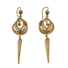 Age Of Elegance - Victorian 9K Gold Etruscan Revival Dangle Earrings (VICE040)