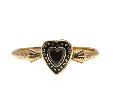Sweeter Than Wine - Victorian Renaissance Revival 14K Heart Garnet & Enamel Ring (VICR114)