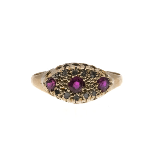 Strawberries & Champagne - Victorian 18K Gold Ruby & Diamond Ring (VICR120)