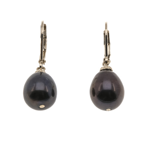 Abyss - Vintage 14K Gold Cultured South Sea Black Pearl Earrings (VE127)