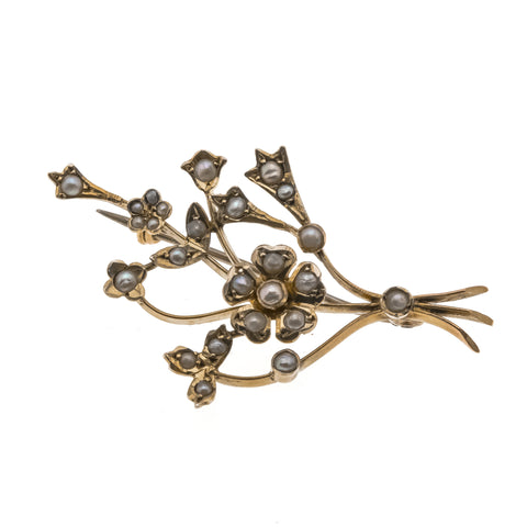 Thinking Of You - Victorian 9K Gold Seed Pearl Flower Bouquet Brooch (VICBR005)