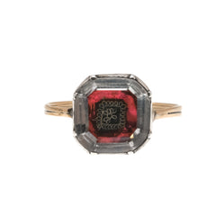 Lovers Knot In Cerise -  Georgian Circa 1690 15k Gold & Silver Stuart Crystal Ring  (GR024)