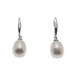 All In White - Vintage 14K White Gold Cultured South Sea White Pearl Earrings (VE129)