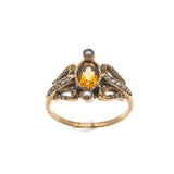 Sunshine Over The Sea  - Victorian 10K Citrine & Seed Pearl Ring