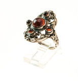 Victorian Arts & Crafts Sterling Silver Garnet Ring