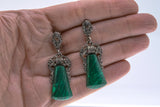 Vintage Sterling Silver malachite & marcasite earrings