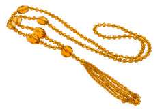 Art Deco Flapper Sautoir Amber Czech Crystal Necklace