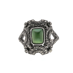Edwardian 9K Sterling Silver Green Turquoise & marcasite ring