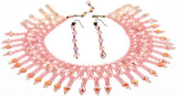 Vintage Pink Crystal Beaded Necklace & Earring Set