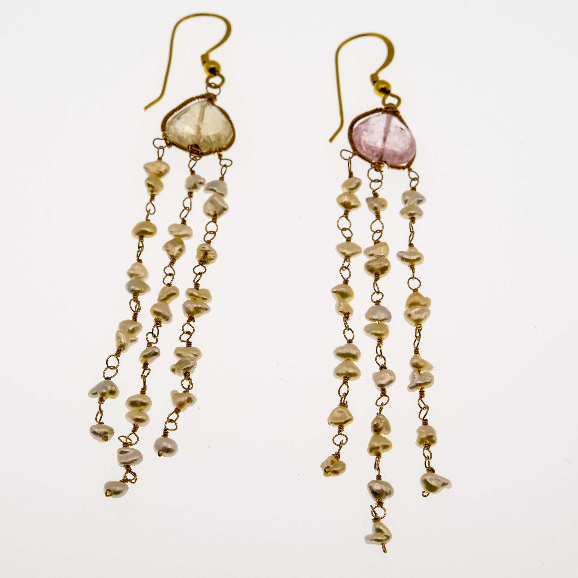 kunzite rarities tourmaline estate products genuine rose rachel antique gold pearl earrings shot yellow pink nc and pale