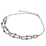 Art Deco Sterling Silver Crystal Choker Necklace