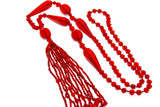 Art Deco Flapper Sautoir Ruby Red Czech Crystal Necklace