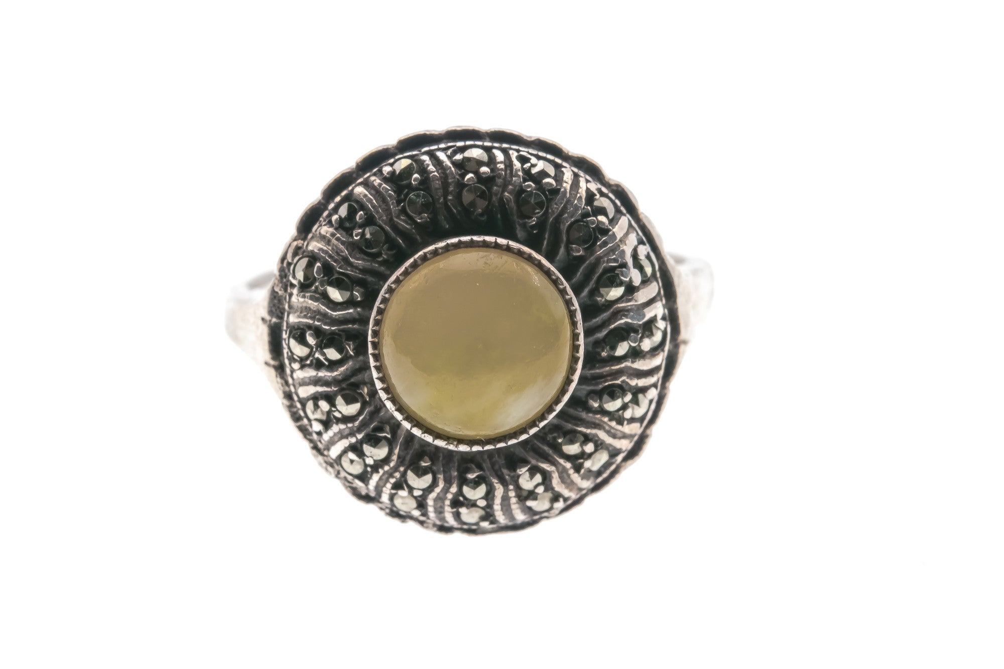 Art Deco 935 Silver Yellow Jade & Marcasite Ring