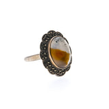 Art Deco Sterling Silver Agate & Marcasite Ring