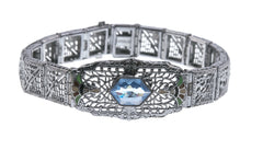 Art Deco Sterling Silver Filigree  Enamel & Paste Bracelet