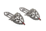 Art Deco Silver & Ruby Red Paste Dress Clips