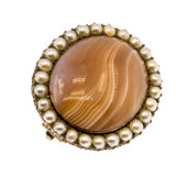 Highlands' Jewel - Georgian 9K Rose Gold Agate & Seed Pearl Brooch