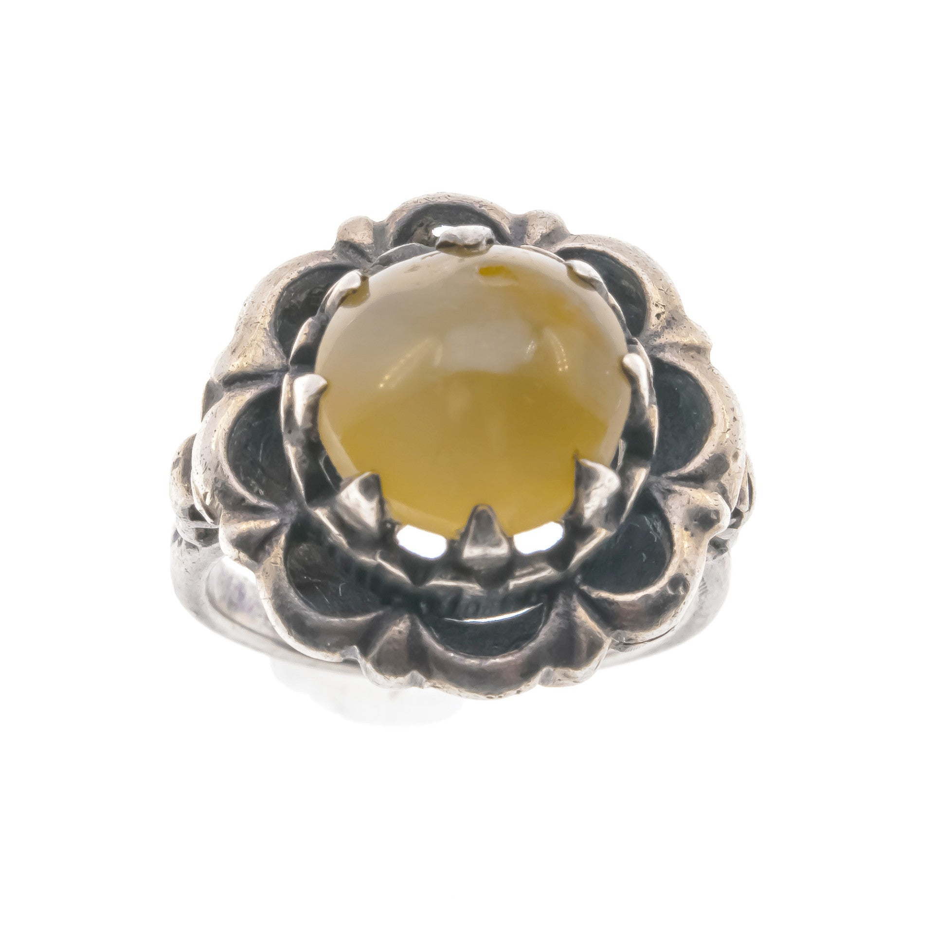 Vintage Sterling Silver Honey Agate Ring