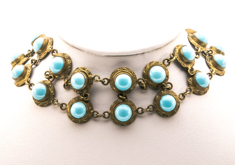 Edwardian Circa 1900 Brass Turquoise Paste Choker Necklace