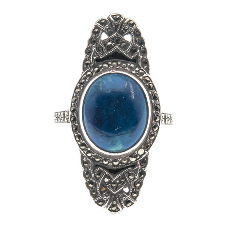 Art Deco Sterling Silver Lapis Lazuli & Marcasite Ring