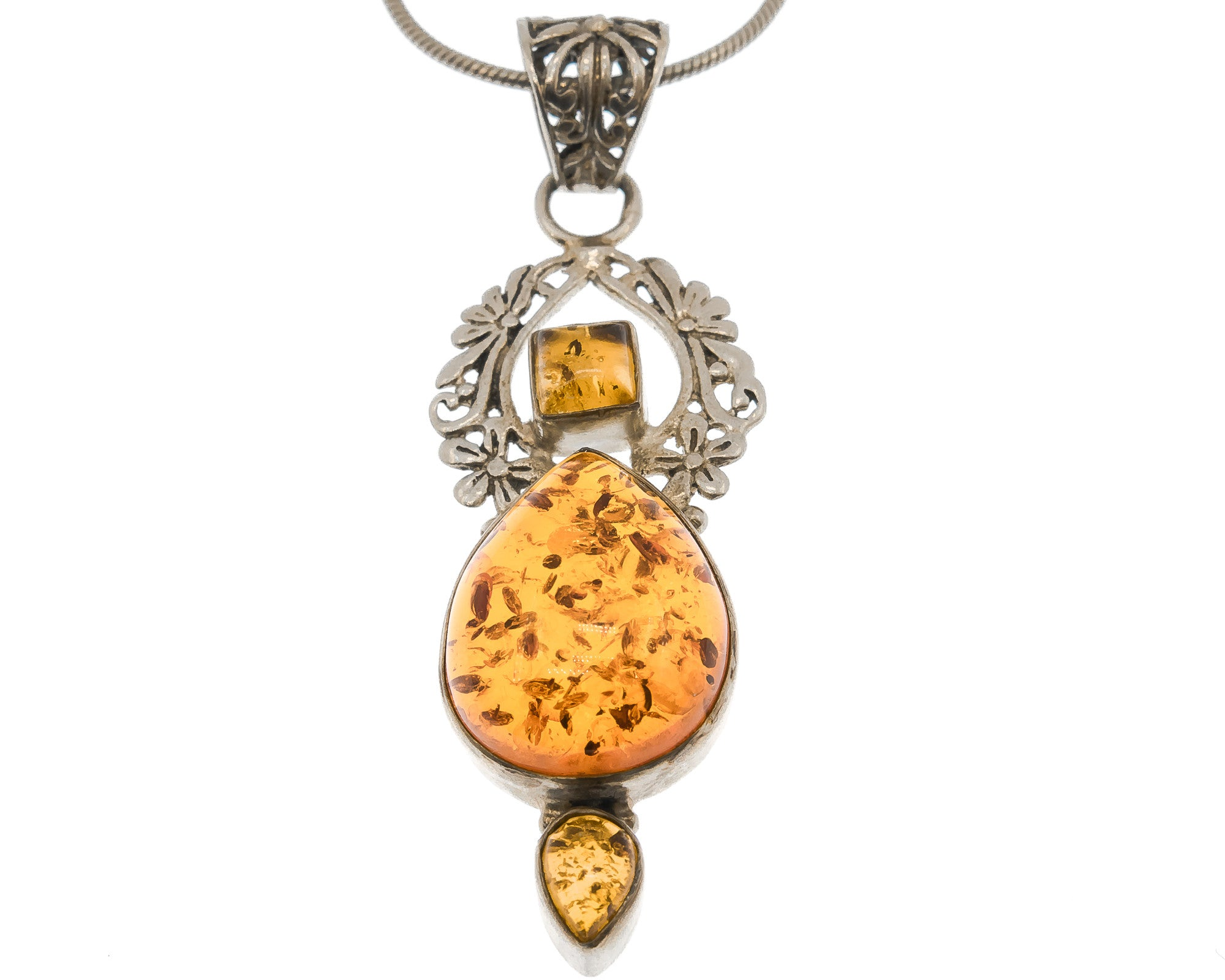 Estate Sterling Silver Cognac Amber Pendant & Chain