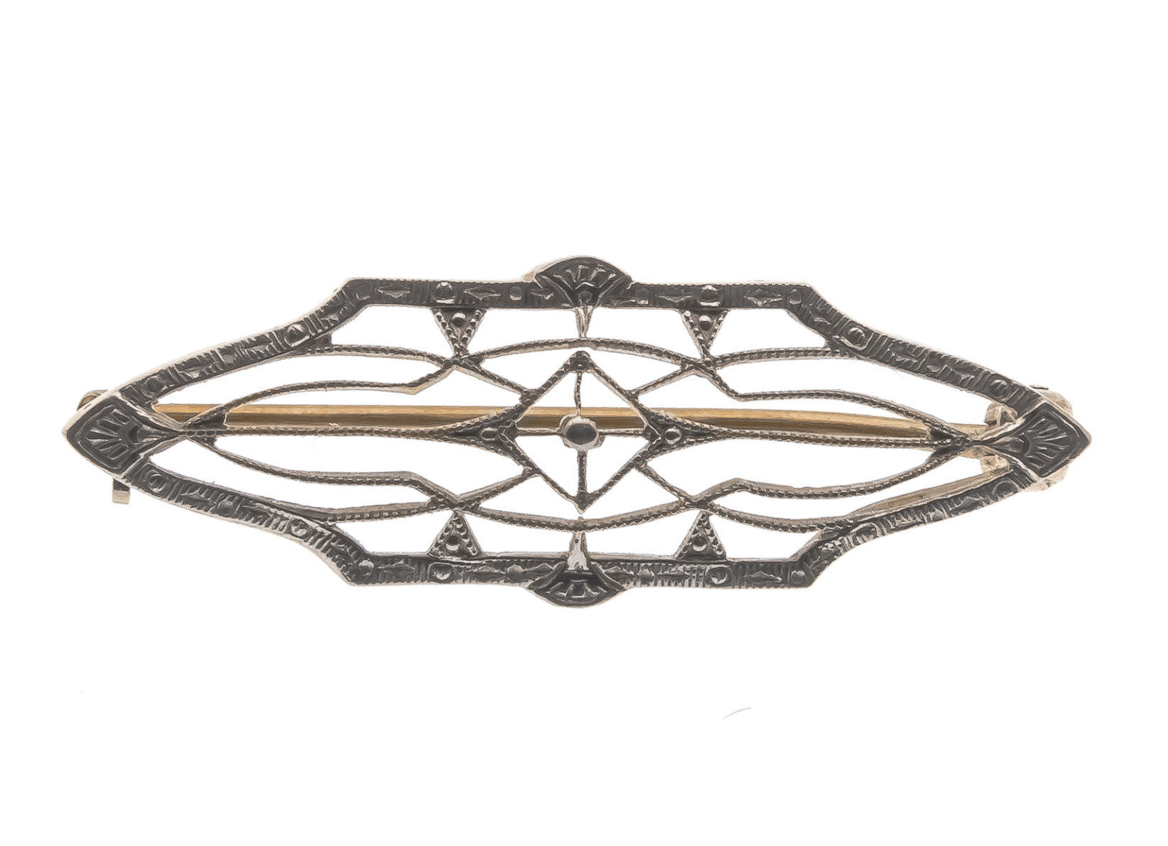 Art Deco 14K White & Yellow Gold Filigree Brooch