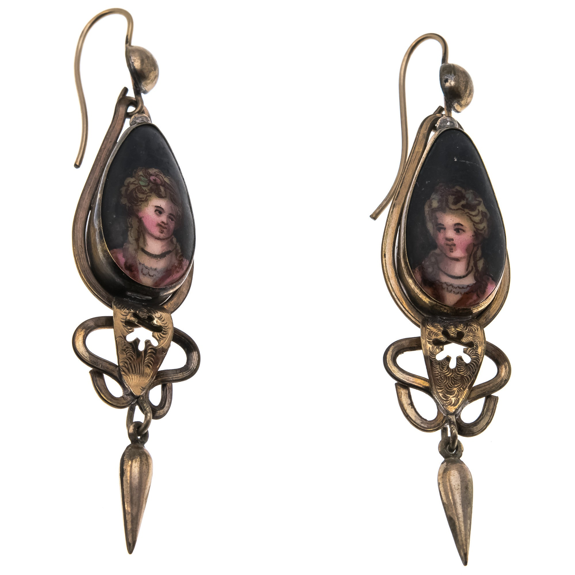 Victorian 1800s Pinchbeck Hand Painted Portrait Earrings