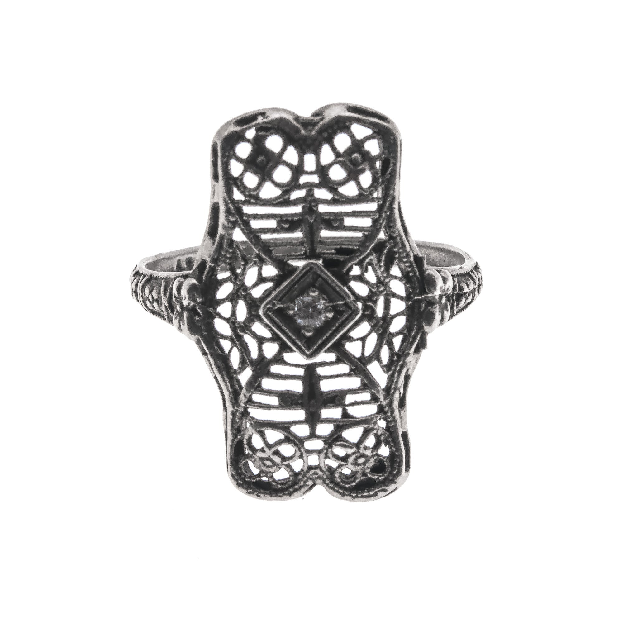 Lace - Edwardian 14K Diamond Filigree Ring