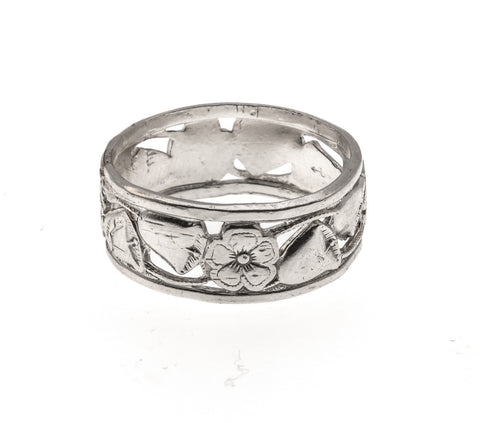 "Art Deco Sterling Silver ""Forget me knot""Wedding Bells Band"