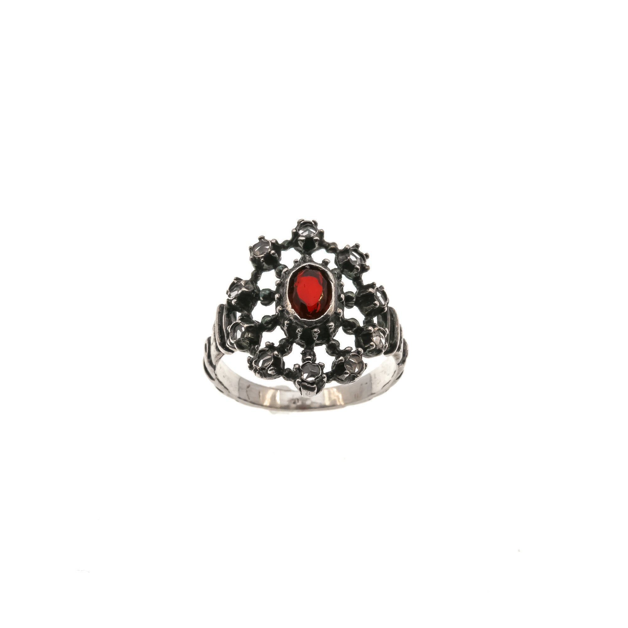 victorian garnet diamond ring cut rose carbuncle products cabochon antique and opulent cluster