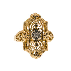 Art Deco 14K Gold Diamond Filigree Ring (ADR040)