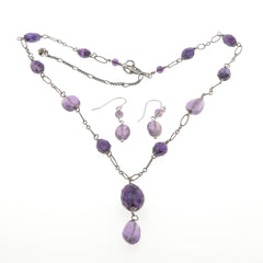 Art Deco Sterling Silver Natural Amethyst Necklace & Earring Set