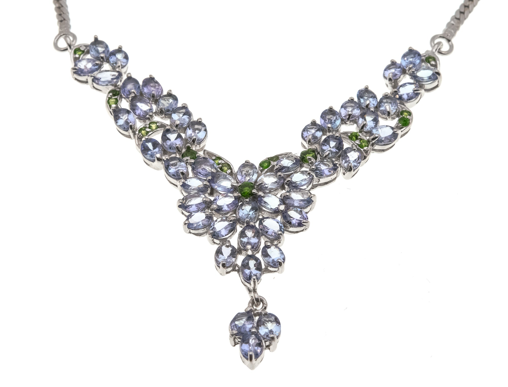 Lavender Fields - Estate Sterling Silver Tanzanite & Chrome Diopside Necklace  (EN013)