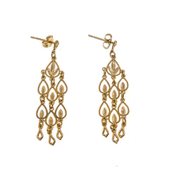 Cascade Of Gold - Vintage 10K Diamond Cut Earrings (VE053)
