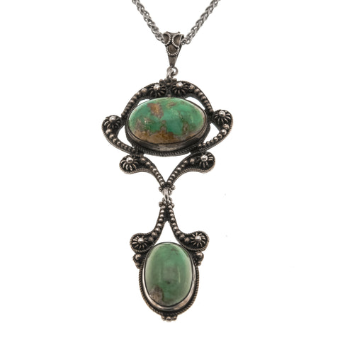 Exquisite Treasure - Edwardian Sterling Silver Turquoise Pendant