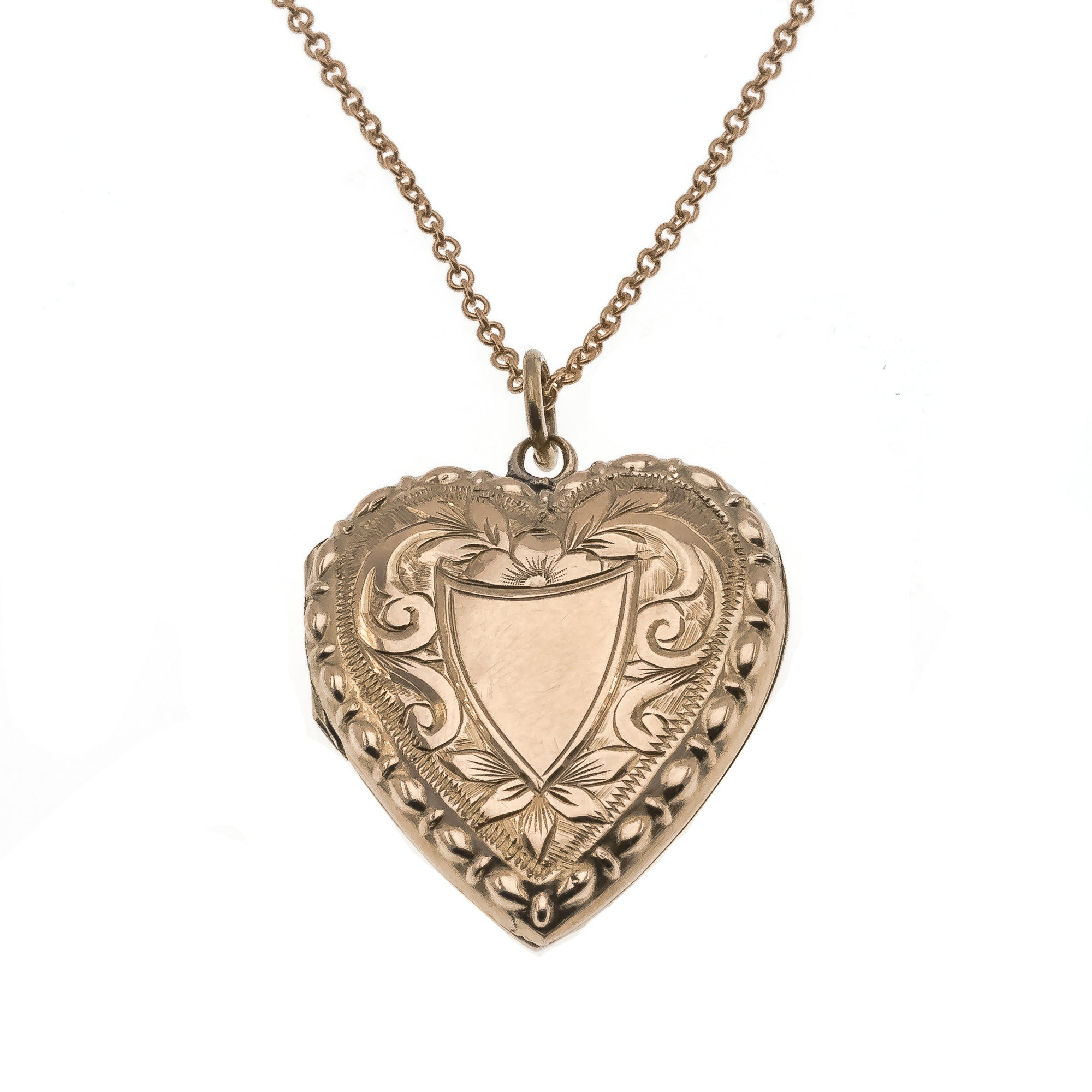 Close To My Heart - Victorian 9K Rose Gold Engraved Heart Locket (VICP059)