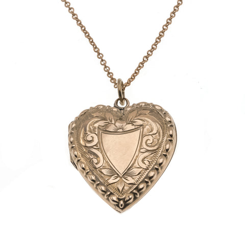 Close To My Heart - Victorian 9K Gold Engraved Heart Locket (VICP059)
