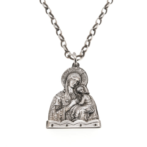 Sweet Devotion - Medieval Circa 1200 A.D. - 1500 A.D Silver Virgin Mary Icon Pendant (PGP098)