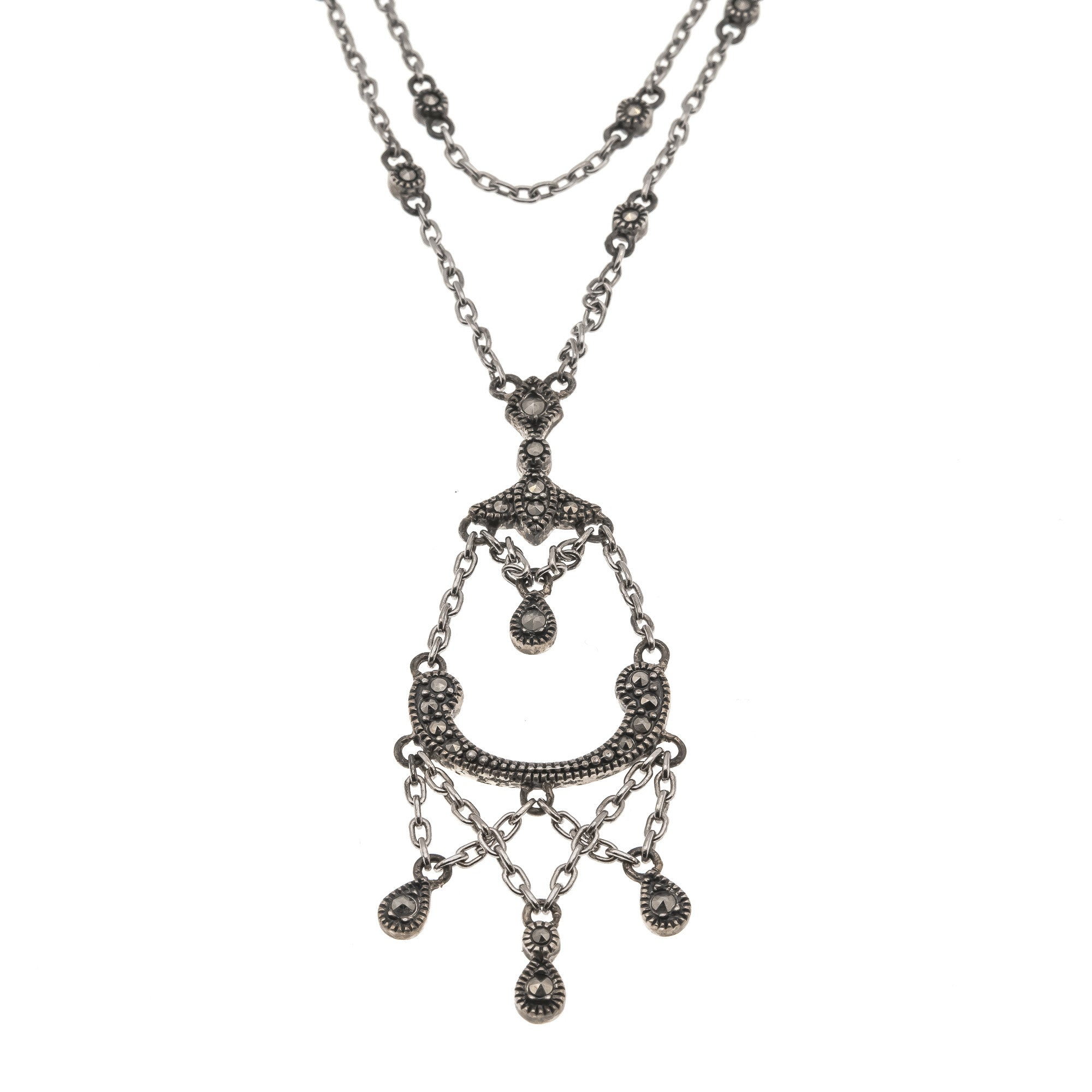 Chained Melody - Vintage Sterling Silver & Marcasite Necklace