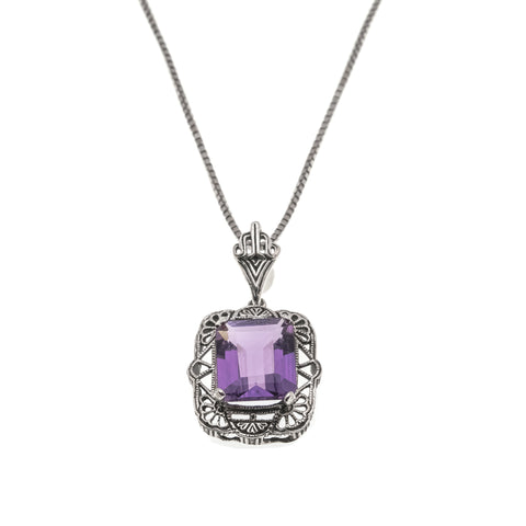 Deep Reverie - Estate Sterling Silver Amethyst Pendant (EP037)