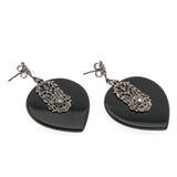Midnight In New York - Vintage Sterling Silver Black Onyx & Marcasite Earrings