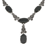 Midnight Sonata - Art Deco Sterling Silver Onyx & Marcasite Necklace (ADE023)