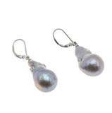 Jewels Of Elegance - Estate Sterling Silver Baroque Grey Pearl Earrings (EE154)