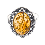 Baltic Treasure - Estate Sterling Silver Baltic Cognac Amber Ring