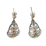 Shades Of Green - Estate Sterling Silver Green Opal Earrings